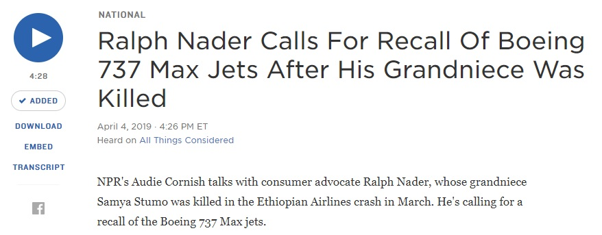 "Ralph Nader: Boeing MAX 8 crashes ""a harbinger"" of what is to come"